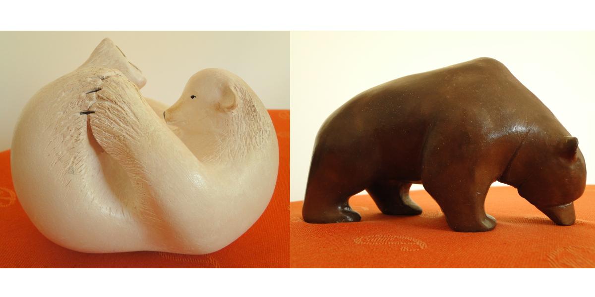 2 ours en terre cuite patinée 22x12 cm env