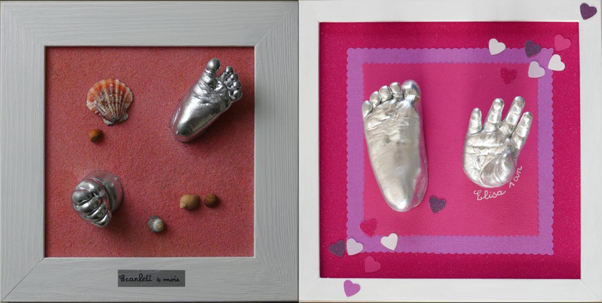 Cadre pied et main patine argenté brillant et décor sable ou coeurs