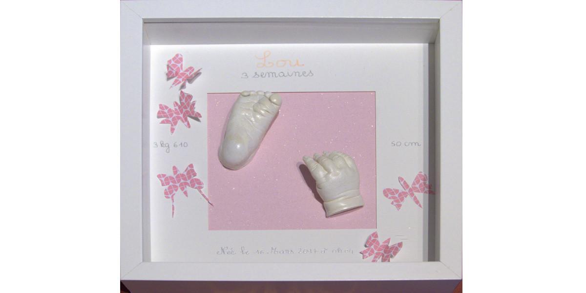 Pied & main bébé 3 mois, cadre relief vitré motif papillons